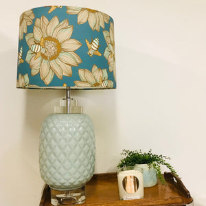 Custom Lamp Shade only - Teal & Gold Bees