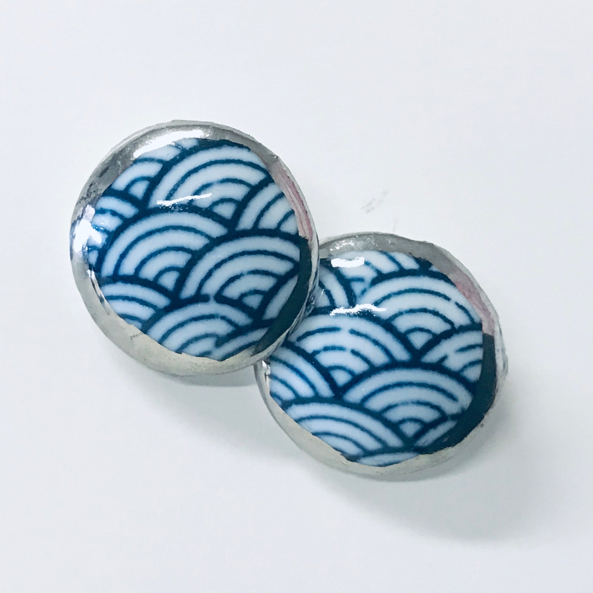 Hand painted Ceramic Stud Earrings - large