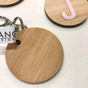 Initial Personalised Alphabet Letter Laser Cut Timber Keyring