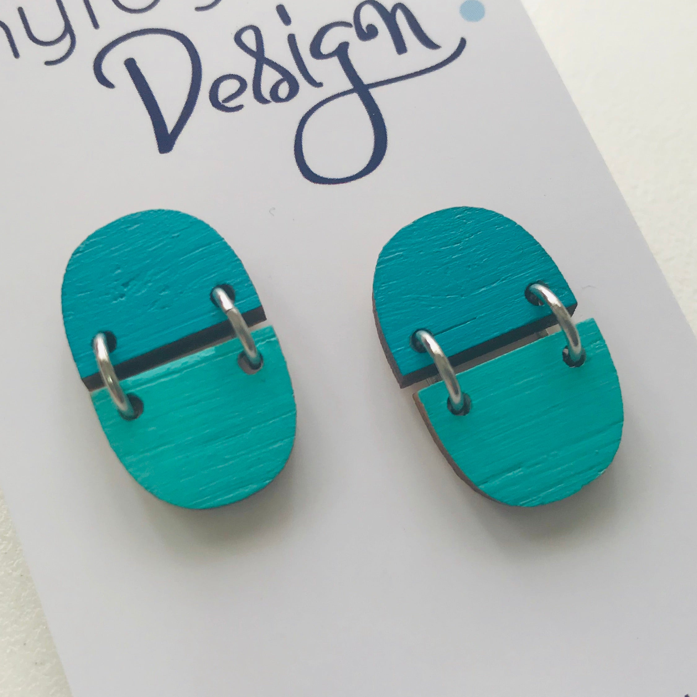 Two Tone Joined Wood Stud Earrings (TT)