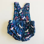Baby Toddler Summer Romper - Blue Unicorns
