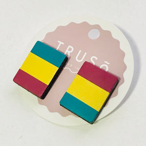 Rectangular Lineal Leather Stud Earrings