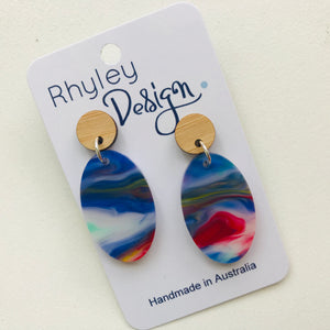 Watercolour Statement Oval Earrings
