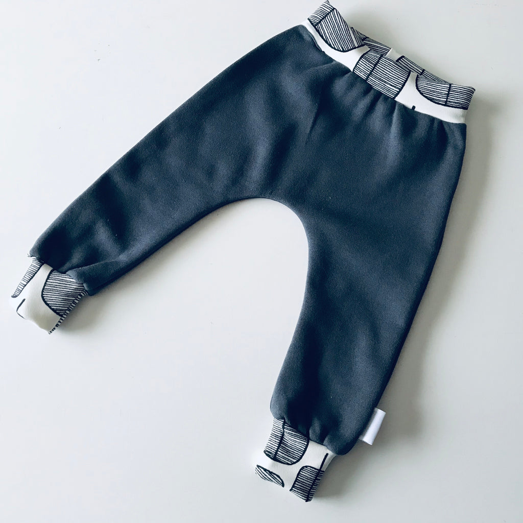 Fleece Trackie Jogger Pants - Dark Grey Monochrome Trees