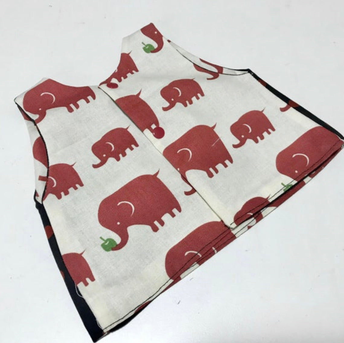 Girls Reversible Handmade Tunic Top - Elephant Parade - size 000 (0-3 months)