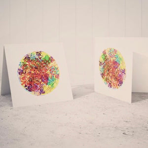 Mixed Media Recycled Square Art Print Greeting Cards with Envelopes