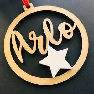 Christmas Personalised Decorations - Lasercut Plywood with Acrylic Star