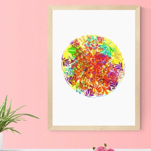 Unframed Giclée A5 Art Print - Floral Patterned Circle