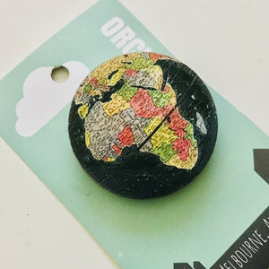 Earth Globe Wood Brooches