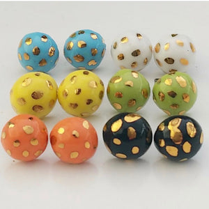 Hand painted Ceramic Stud Earrings - SMALL 10mm