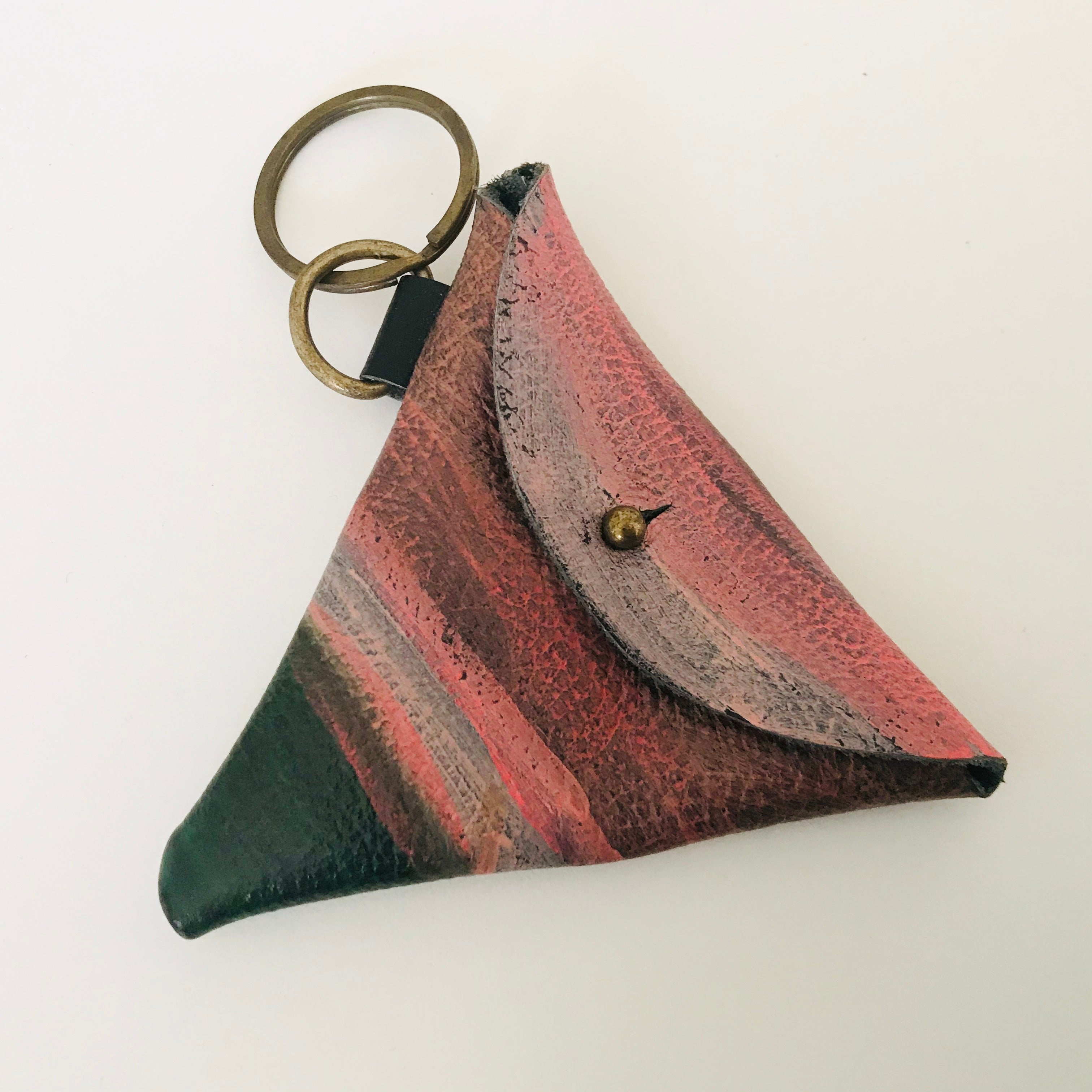 Leather / Suede Keyring Triangle Pouch *ON SALE*