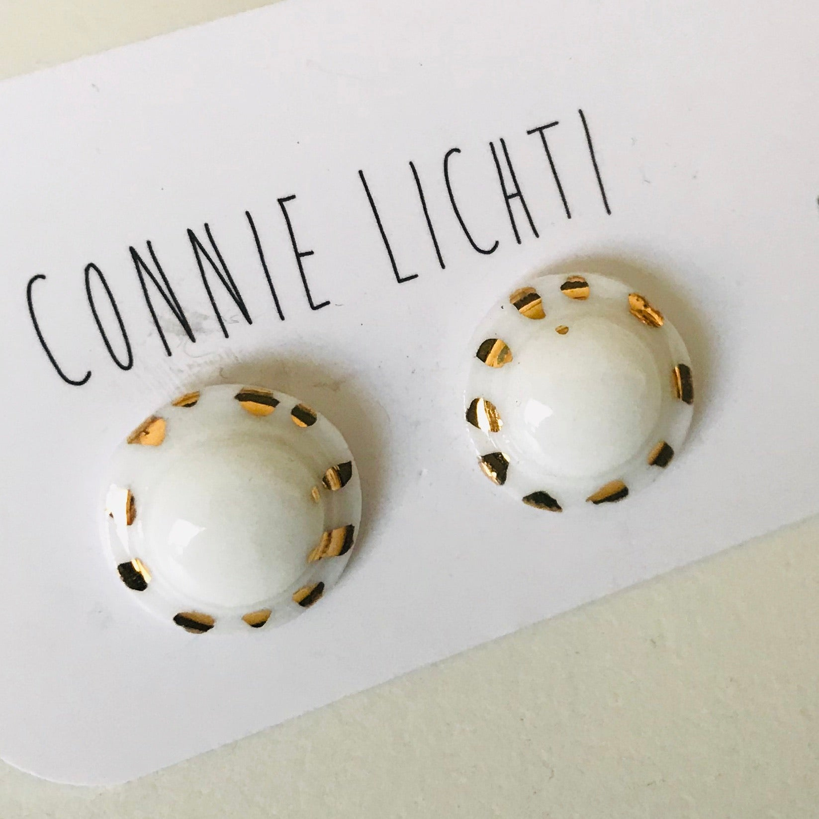 Hand painted Ceramic Stud Earrings - MEDIUM 15mm
