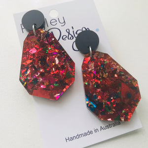 Red Glitter Party Statement Earrings (XMASR)