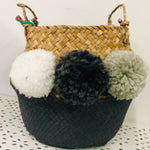 Woven Storage Baskets with Pom Poms