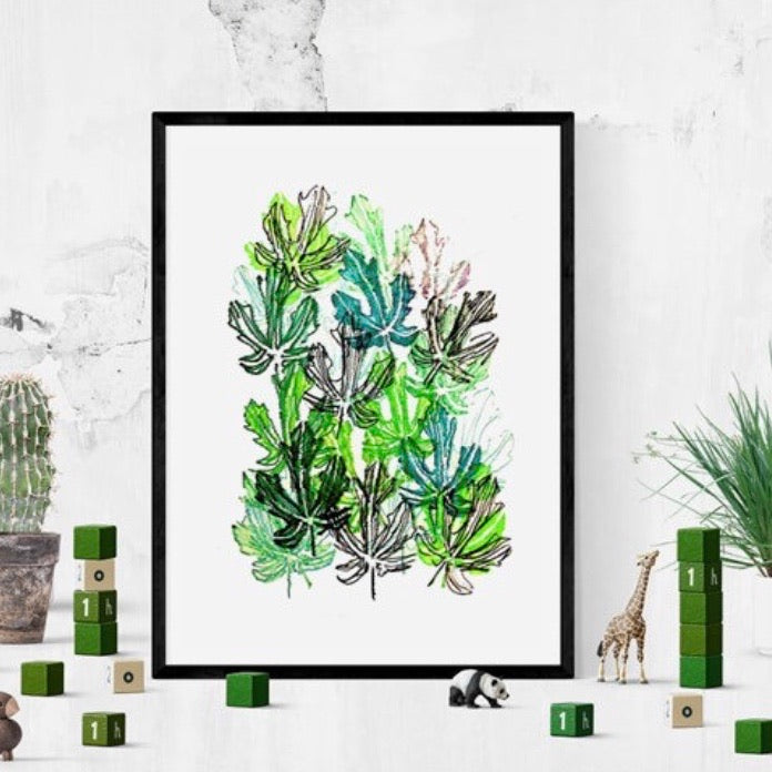 Unframed Giclée A5 Art Print - Green Leafy Goodness