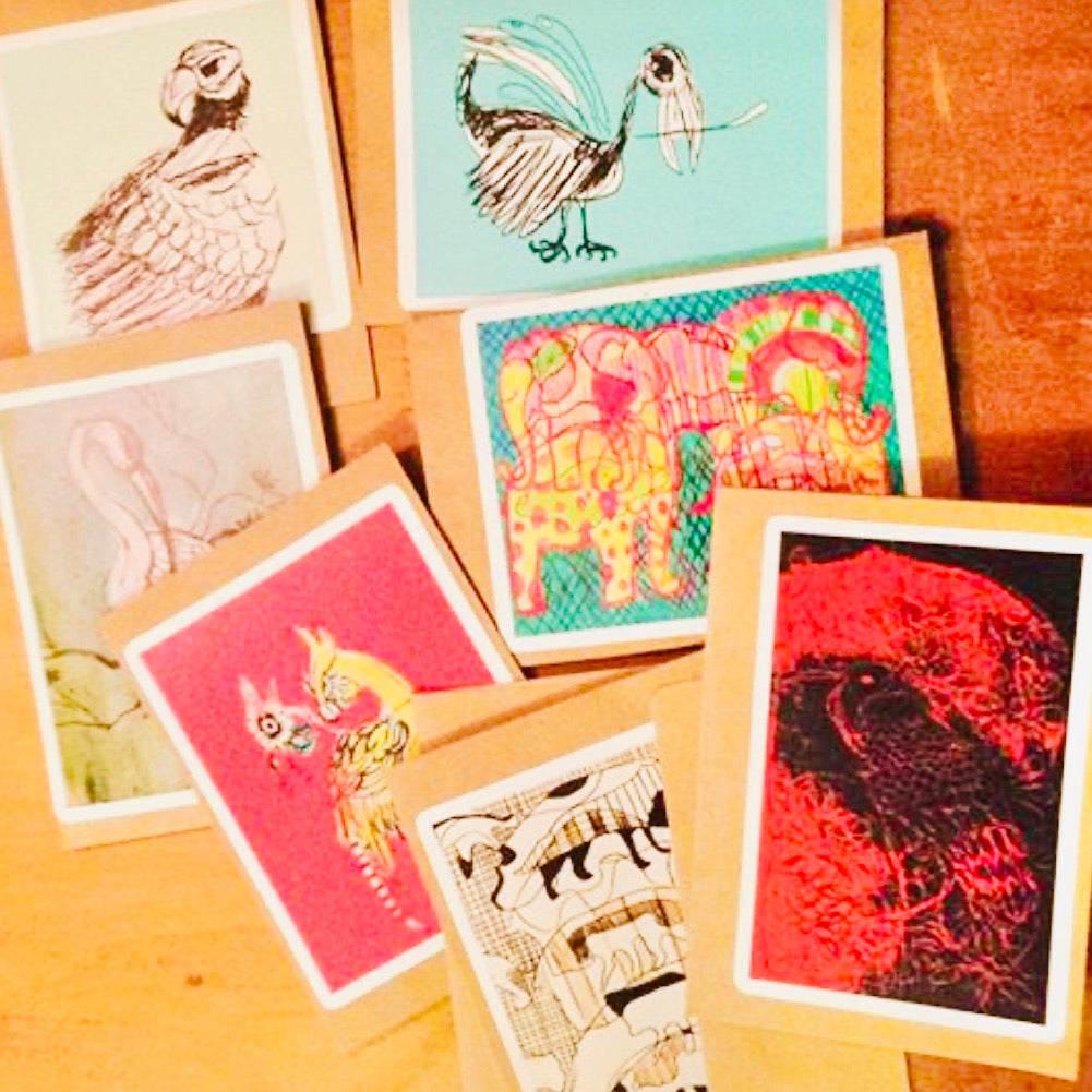 Mixed Media Recycled Mini Art Print Gift Cards with Envelopes