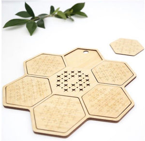 Bamboo Coaster Set - 7 pce