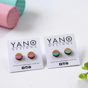 Dot Colour Split Laser Cut Stud Earrings