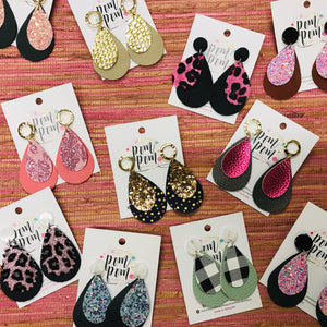 Double teardrop vinyl & Leather Earrings (A)