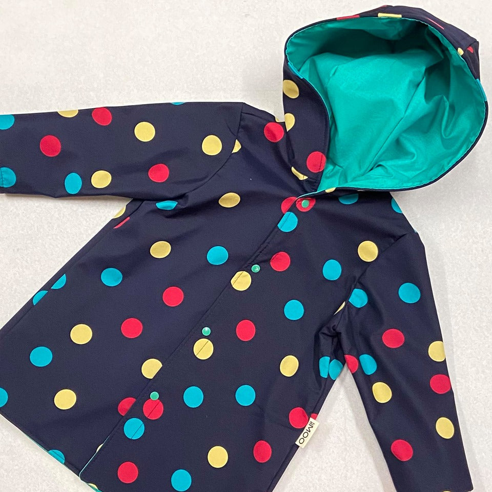 Kids Raincoat Jacket - Navy Spots