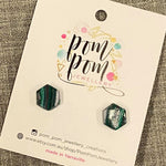 Hexagon Dot Polymer Clay Stud Earrings - medium (M)