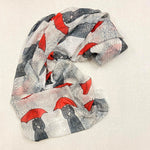 Original Art Print Polyester Scarf - Polka Dots in the Rain