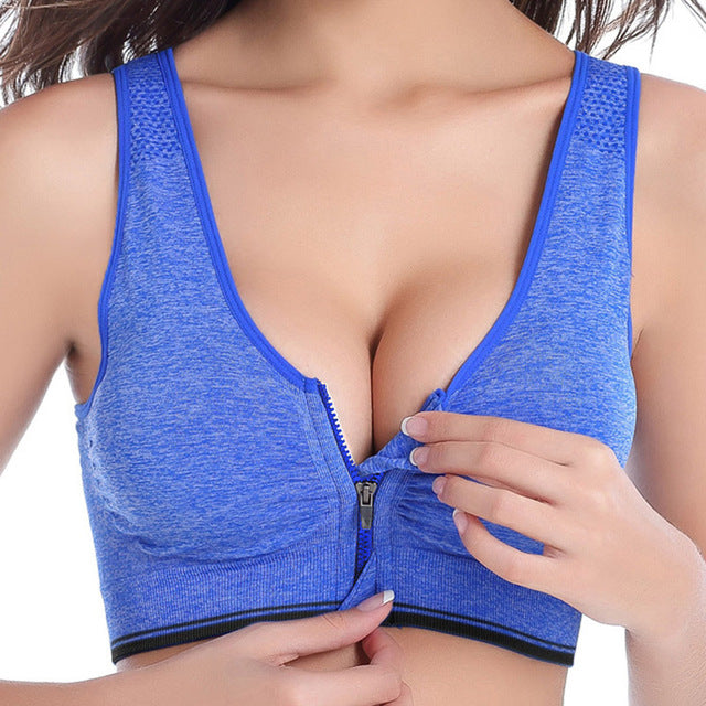 Zipper Push Up Sports Bra - athleisurebest.com