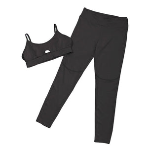 Pink Solid Crop Yoga Set for Women - athleisurebest.com