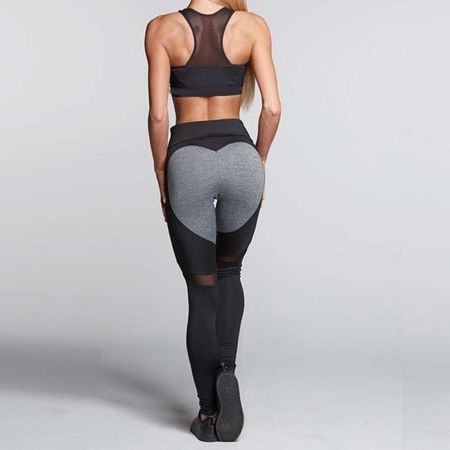 Heart Pattern Mesh Leggings for Women - athleisurebest.com