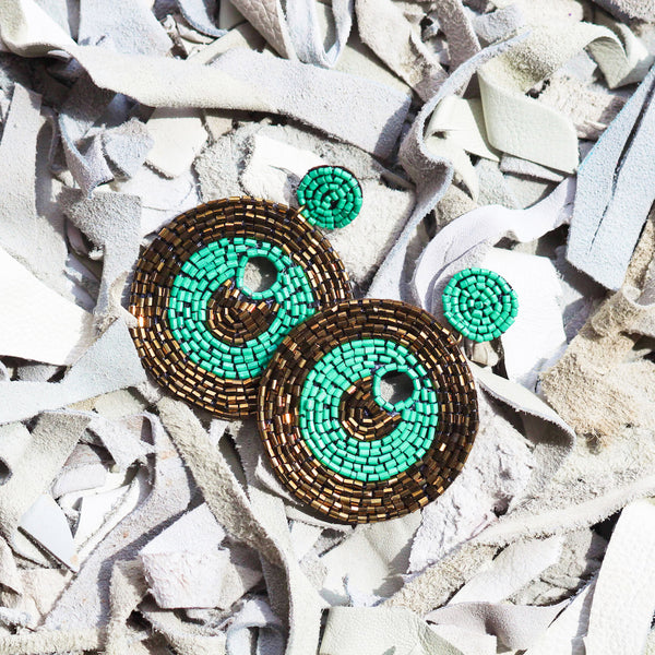 Bronze Turquoise Beaded Statement Earrings