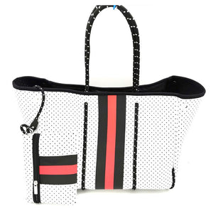 White and Red Stripe Tote