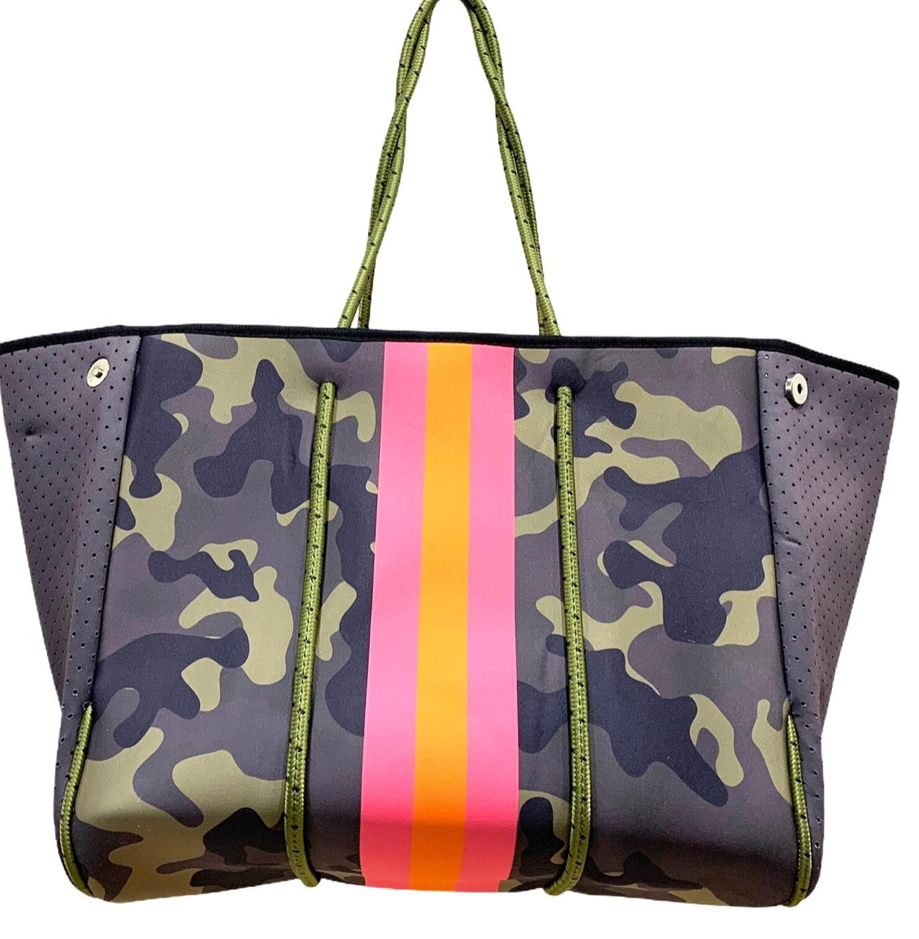Camo With Stripe Tote (Pink or Green)
