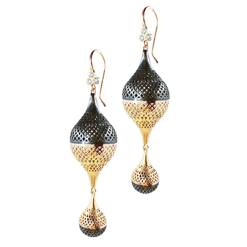 Large Double Finial Earrings with Triple Diamond Hooks