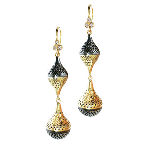 Double Crownwork Finial Drop Earrings with Tripple Diamonds - Sotre Collection