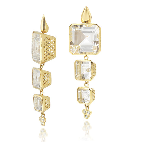 Classic Crownwork Cascading Emerald Cut White Topaz Earrings - Sotre Collection