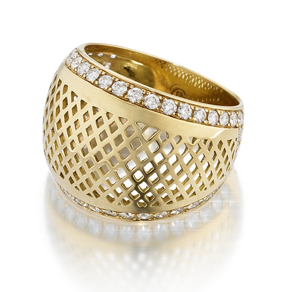 Dome Top Crownwork Ring with Pave Diamonds - Sotre Collection