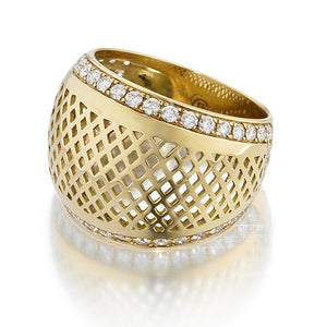Dome Top Crownwork Ring with Pave Diamonds