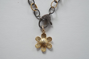 Vermeil and Pave Flower Pendant - Sotre Collection