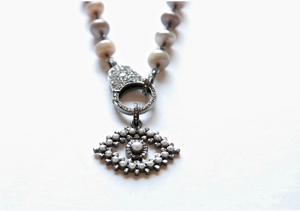 Pearl/Pave Evil Eye Pendant - Sotre Collection
