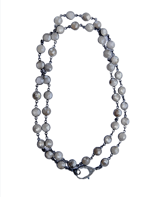 Mystic Moonstone Bezel Long Chain - Sotre Collection
