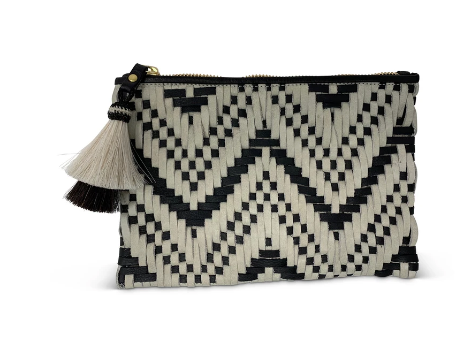 Black and White Woven Cosmetic Case