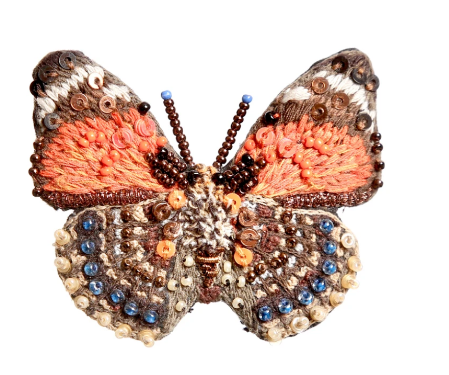Claudina Orange Butterfly Brooch Pin