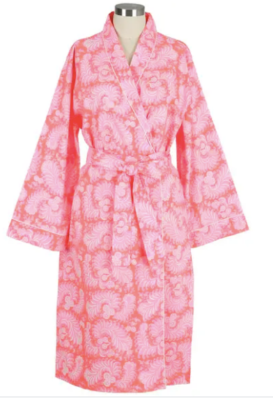 Swirling Feathers Cotton Robe