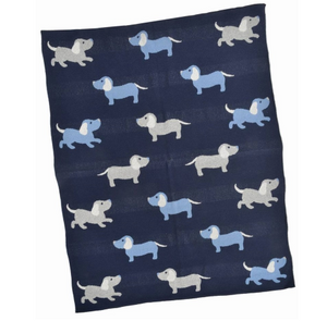 Dacshund Cotton and Lurex Baby Blanket