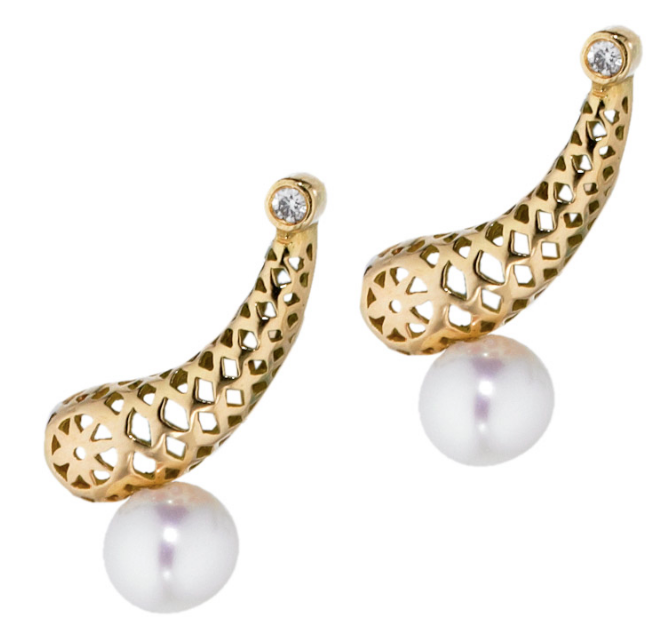 Pearl and 18K Gold Ear Climbers