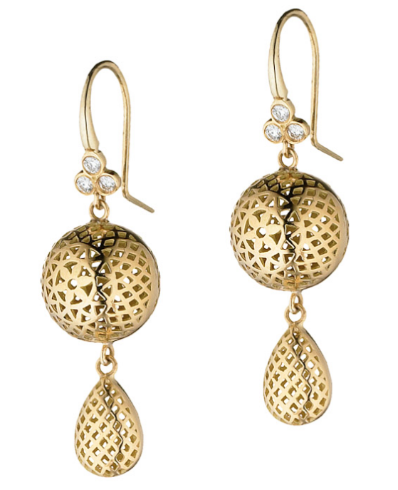 18K Gold Crownwork Ball Earrings