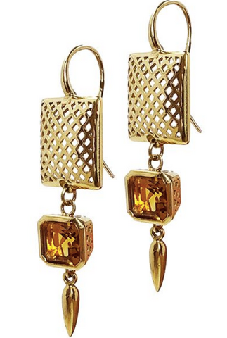 18K Crownwork Square Earrings with Citrine Bezels