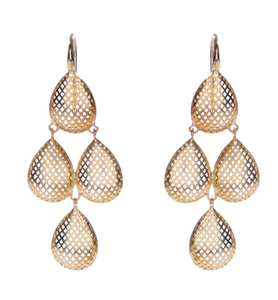 18K Quadrouple Drop Crownwork Earrings