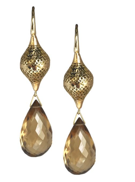 18K Gold Crownwork Earrings wit Citrine Drops