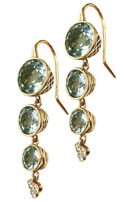 Green Amethyst and 18K Drop Earrings